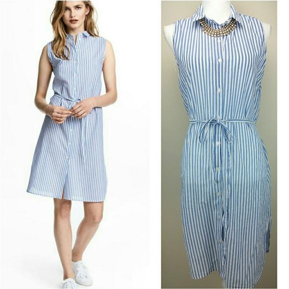 536154837 H&M Dresses   H M Shirt Dress Blue White Stripes 12   Poshmark